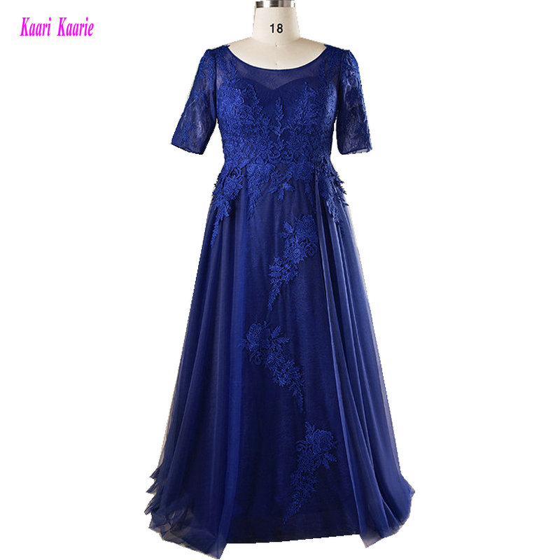 Dark Royal Blue Long Plus Size Evening Dresses 2019 O-Neck Formal Evening Party Gowns Tulle Appliques Mother of the Bride Dress