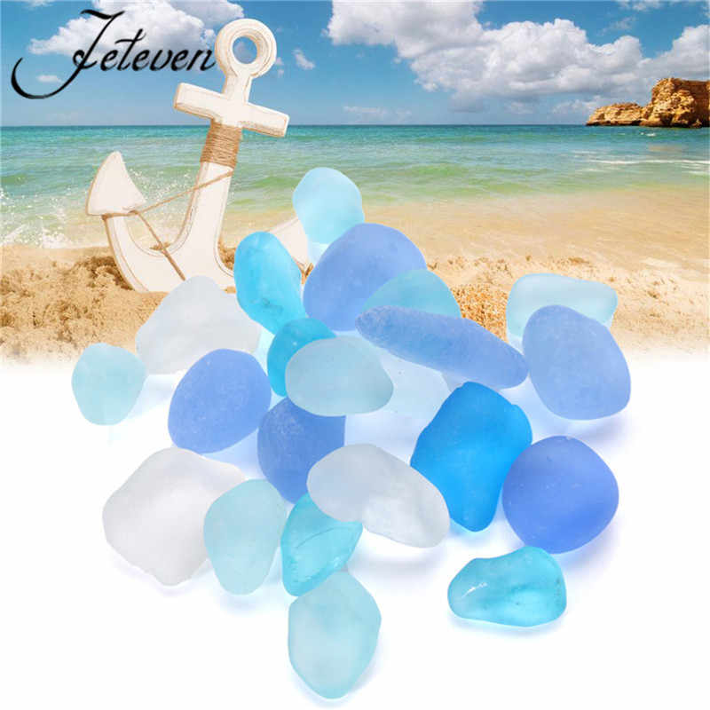 20pcs Sea Beach Glass Beads Bulk Ornaments 10-16mm Blue Tumbled Matte Sand Stone For Earrings Pendant Necklace Jewelry Making