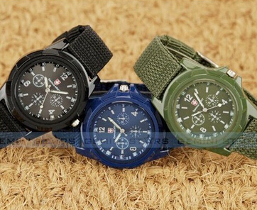 Mens Watch Military Sport Fashion Analog Quartz 1pcs/Lot Belt Fabric-Strap Canvas Army