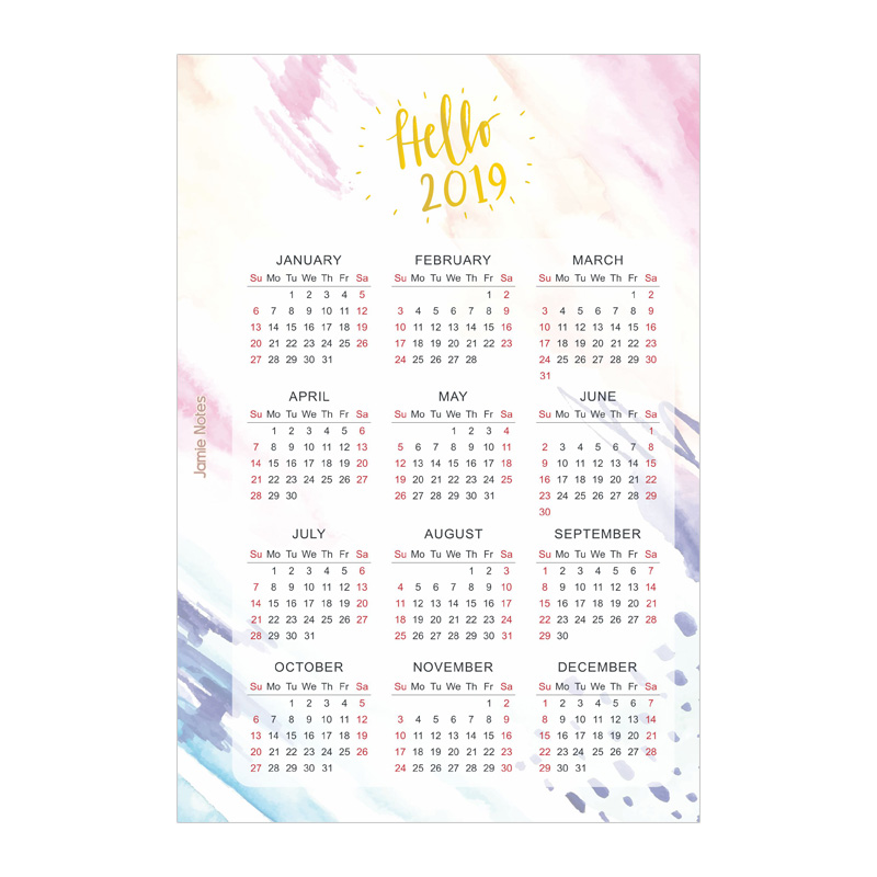 Jamie Notes Foil Gold Watercolor 2019 Calendar Binder Notebook Divider For Filofax A5A6 Spiral Planner Accessories Stationery