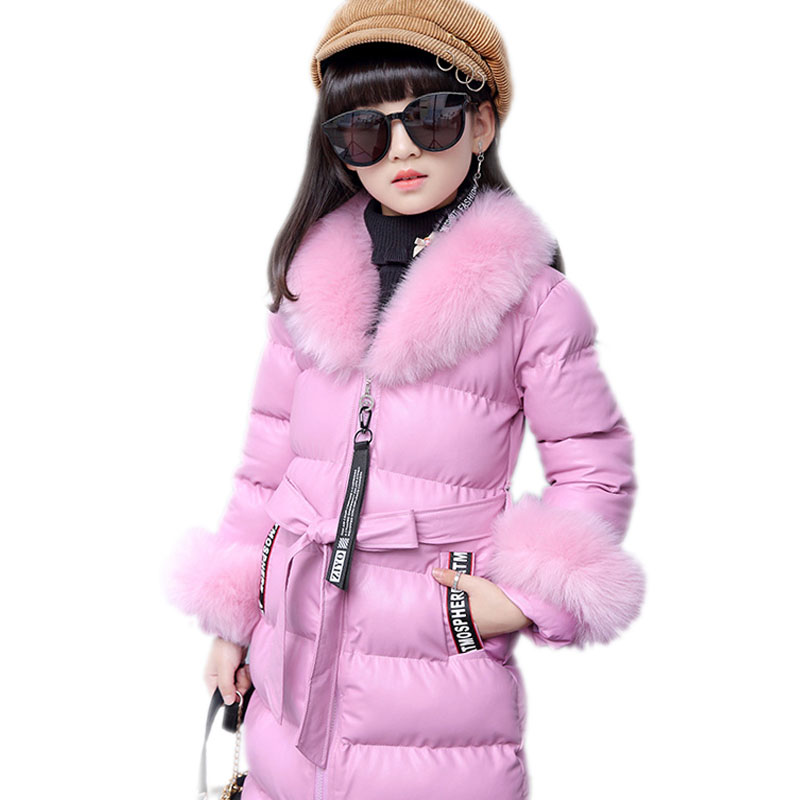 children warm coat kids winter jacket for girls long section girls cotton padded coats fur collar leather children outwear 4-13T women winter coat leisure big yards hooded fur collar jacket thick warm cotton parkas new style female students overcoat ok238