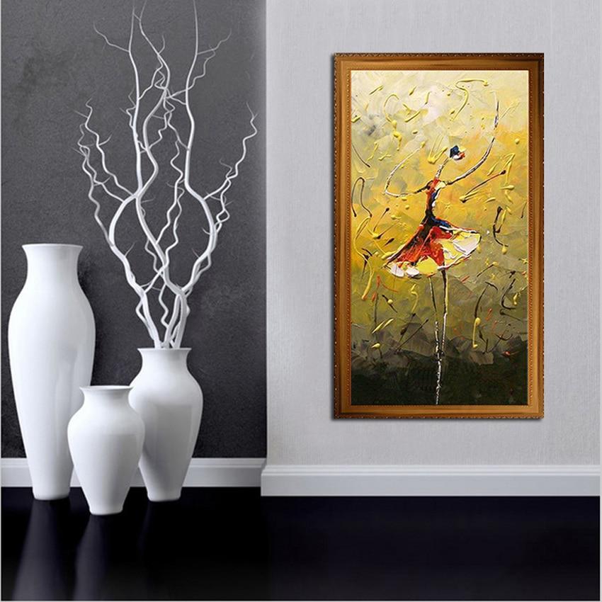 60b955b7735c9 رسمت باليد الحديثة أسلوب بسيط الأرقام زيت على قماش مجردة جميلة راقصة  الباليه اللوحة ديكور المنزل الفن
