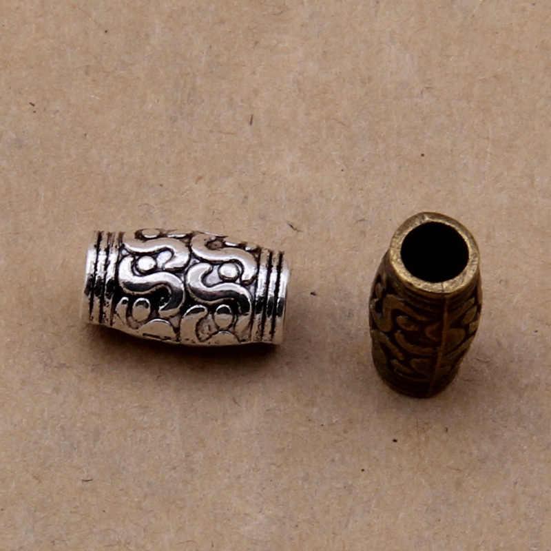 20 יח'\חבילה טיבטי כסף, ברונזה עתיק חרוזים Spacer צינור עגול גלגל מתכת גדול חור צמיד חרוזים DIY תכשיטי ביצוע