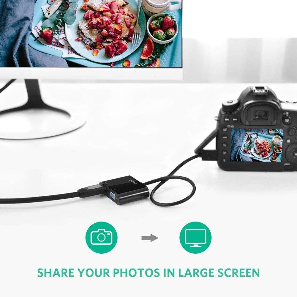 UGREEN 1080P Adaptador Activo de Micro HDMI a HDMI+VGA con Puerto de Audio 3....