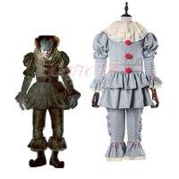 Cafiona Прекрасный Клоун комплект Стивена Кинга это Pennywise Косплэй костюм на Хэллоуин наряд индивидуальный заказ