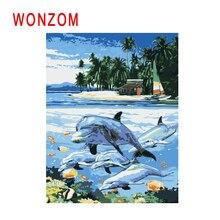 WONZOM Dolphin Swim Painting By Numbers Abstract Sea Oil Beach Cuadros Decoracion Acrylic Paint On Canvas Modern Art