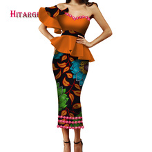 2018 New African Wax Print Clothes for Women Dashiki  Cotton Sexy lace Slash neck Top Skirt Set of 2 Piece Dashiki Dress WY3364