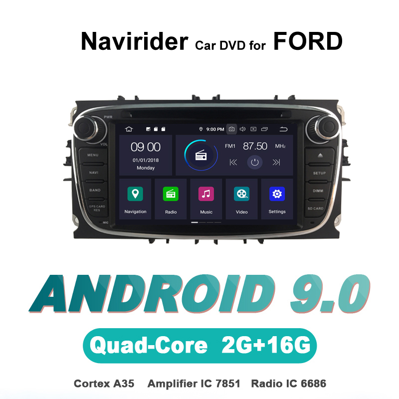 Navirider autoradio gps navigation android 9.0 autoradio lecteur pour FORD MONDEO FOCUS S-MAX GALAXY noir DVD AUTO accessoires