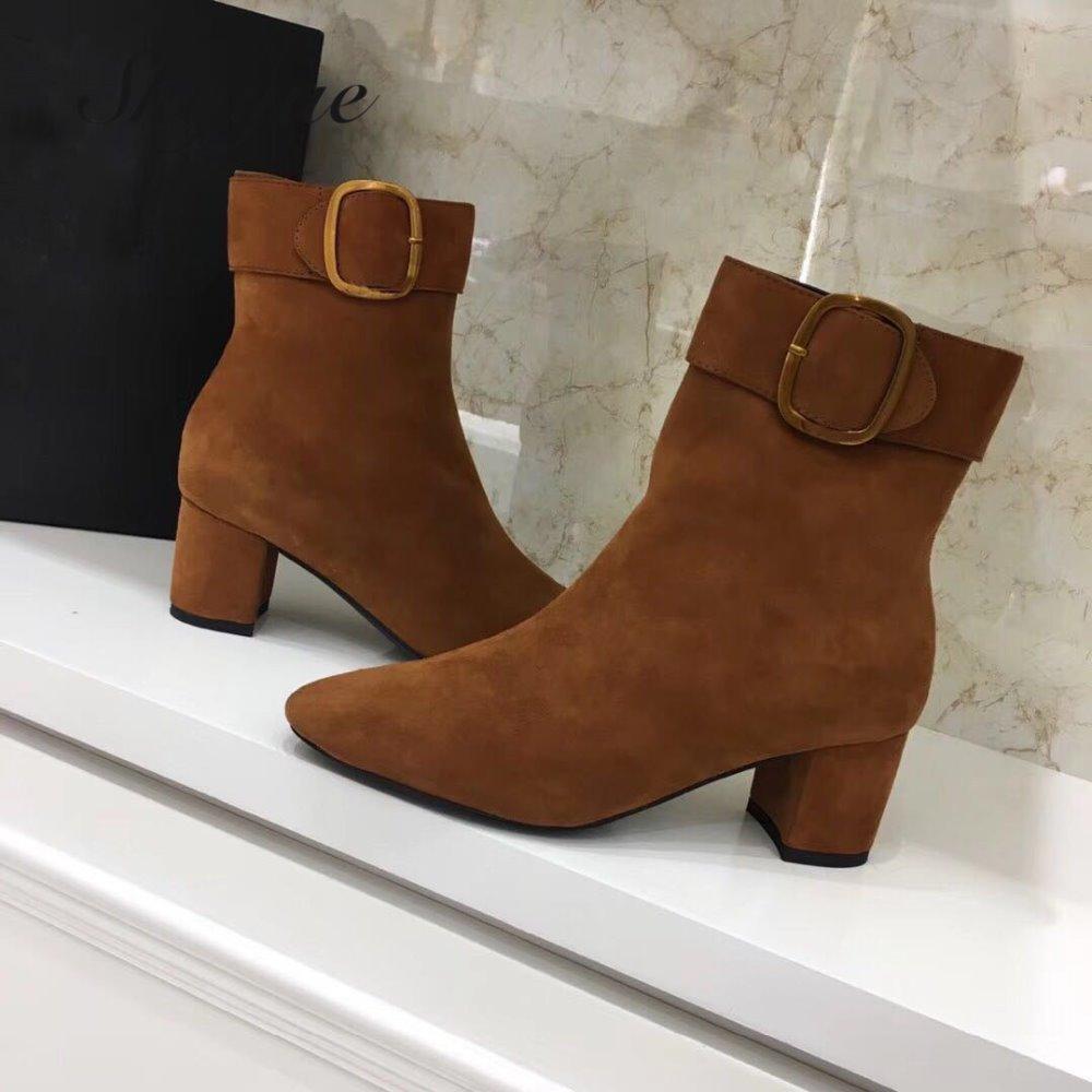 SKYYUE New Genuine Leather Khaki Metal Deco Women Boots Square Toe Zip Side Chunky Heel Women Ankle Boots Shoes Women skyyue new genuine leather pointed toe women boots zip side thin high heel ankle boots shoes women