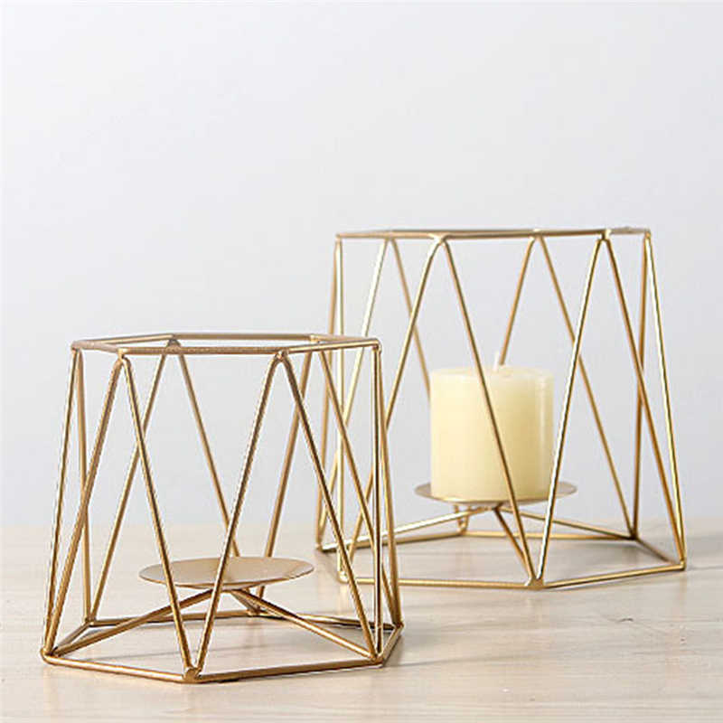 New Geometric Candlestick Nordic Minimalist Style Ornaments Wall Sconce Matching Steel Small Tealight Candle Holders