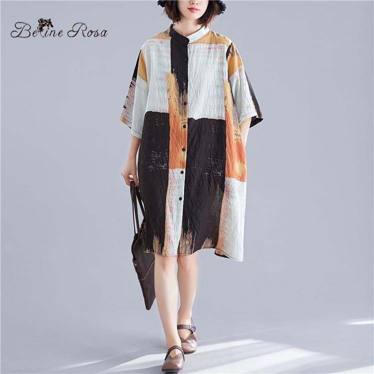 BelineRosa European Fashion Style Womens Tops and Blouses Cotton Linen Summer Plus Size Blouses Woman 2019 BSDM0259