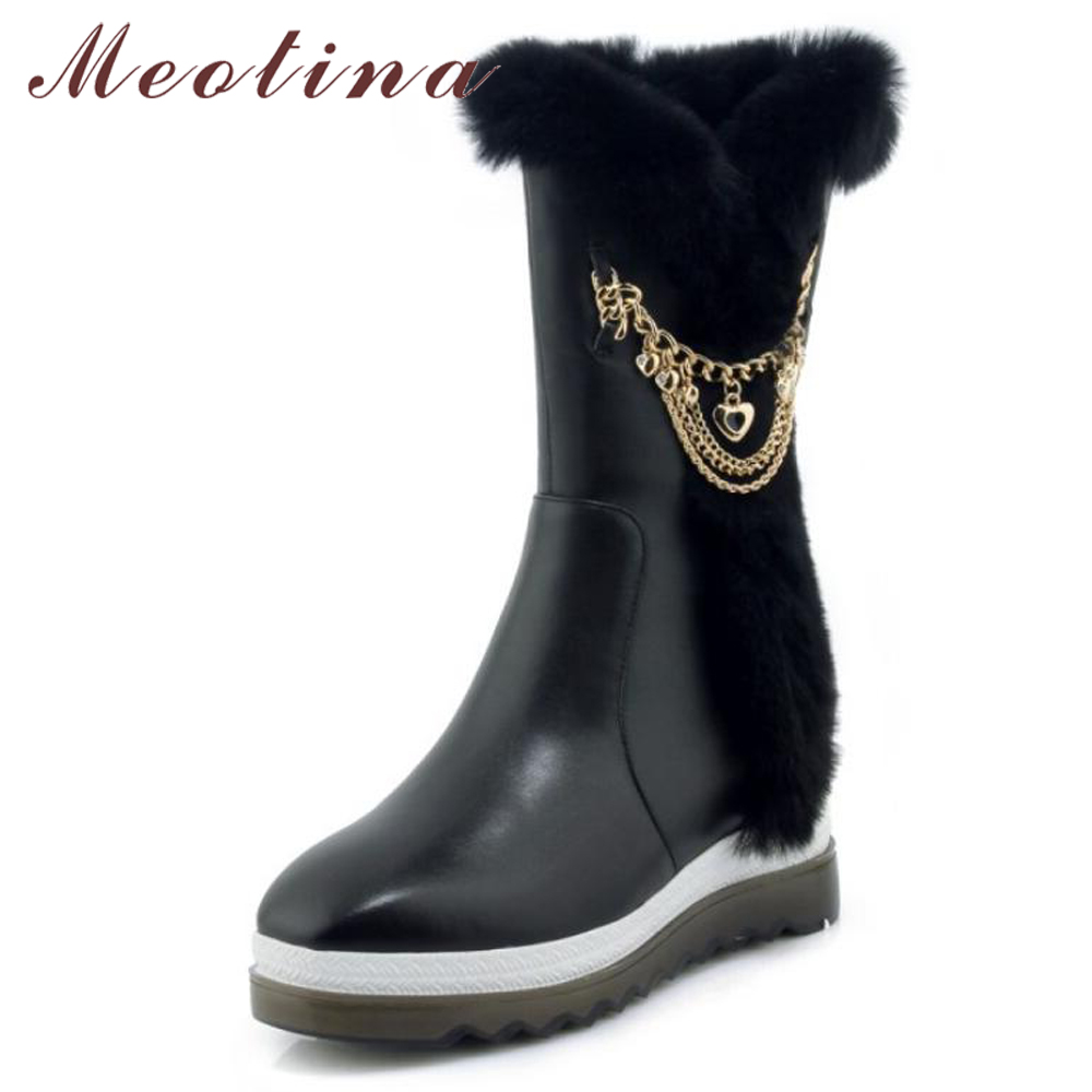 Meotina Genuine Leather Mid-Calf Boots Winter Snow Boots Women Real Fur Warm Boots Chain Platform Wedges High Heel Shoes Black kemekiss women snow boots genuine leather chain wedges mid calf mother boots fashion women warm fur winter shoes size 34 39 page 7