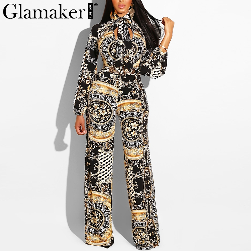 Glamaker Sexy printed long sleeve   jumpsuit   Women hollow out turtleneck lace up   jumpsuit   rompers Female summer vintage overalls