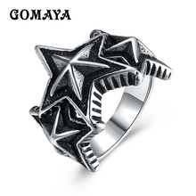 GOMAYA Big Pentacle Pentagram Style Mens Rings Titanium Steel Vintage Rock Punk Classic Fashion Party Biker Jewelry Anillos