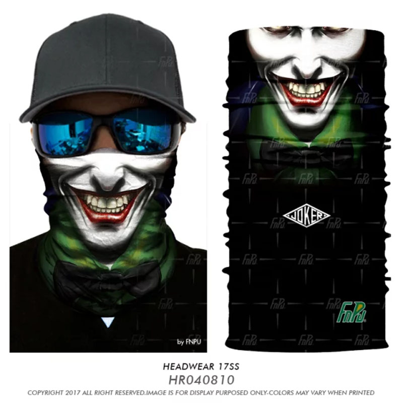 3D Seamless Jokers Bandana Neck Warmer Face Mask Halloween Headband Animal Bandana Skull Headwear Bicycle Snowboard Scarves Coif