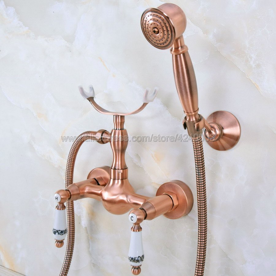 Antique Red Copper Bathroom Faucet Bath Faucet Mixer Tap Wall Mounted Hand Held Shower Head Kit Shower Faucet Sets Kna354Antique Red Copper Bathroom Faucet Bath Faucet Mixer Tap Wall Mounted Hand Held Shower Head Kit Shower Faucet Sets Kna354