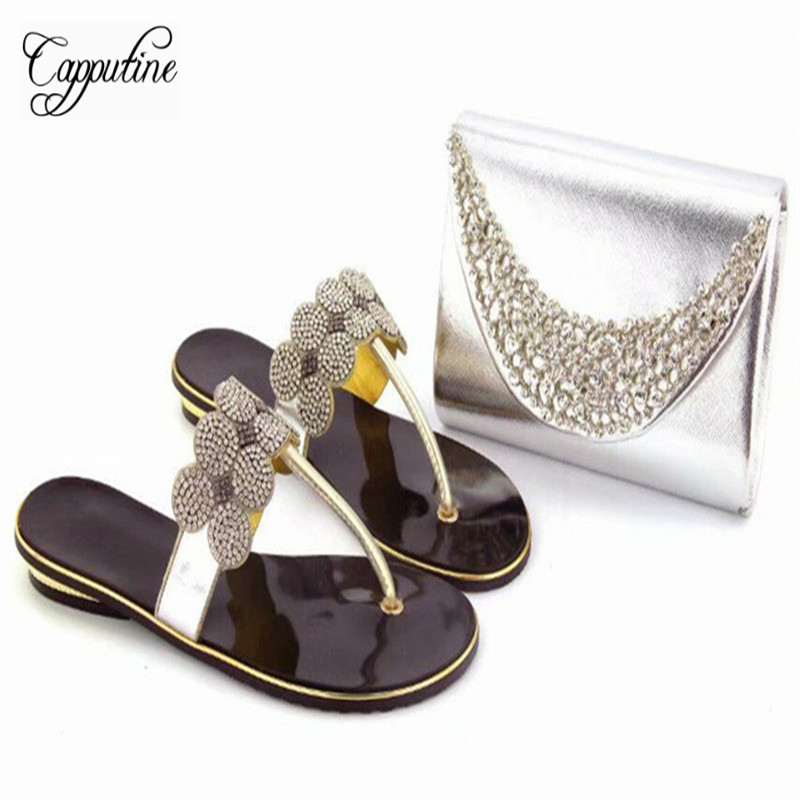 Capputine Nice Design Italian Shoes And Matching Purse Set Latest African  Rhinestone Slipper Woman Shoes And Bags Set For Party-in Women s Pumps from  Shoes ... ed797f64e5d6