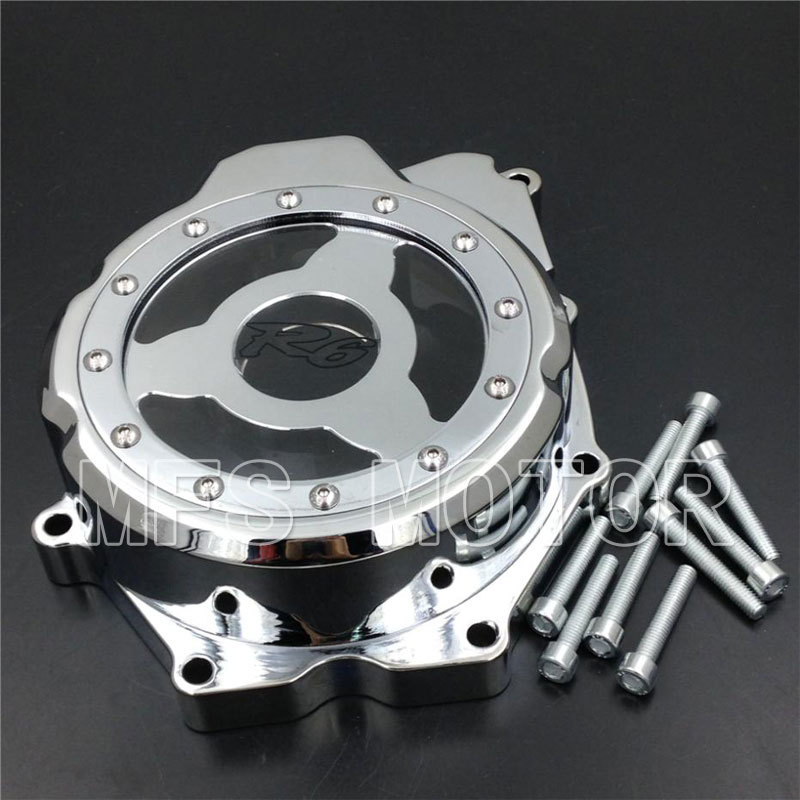 Motorcycle Left side Billet Engine Stator cover see through For Yamaha YZF-R6 2006 2007 2008 2009 2010 2011 2012 2013 CHROME aftermarket free shipping motorcycle parts billet engine stator cover for honda cbr600rr f5 2007 2012 chrome left