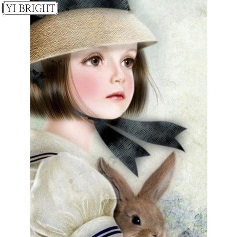 Diamond Embroidery Girl DIY Diamond Painting Portrait Full Square Diamond Mosaic Rabbit Picture Of Rhinestone Handmade XY1