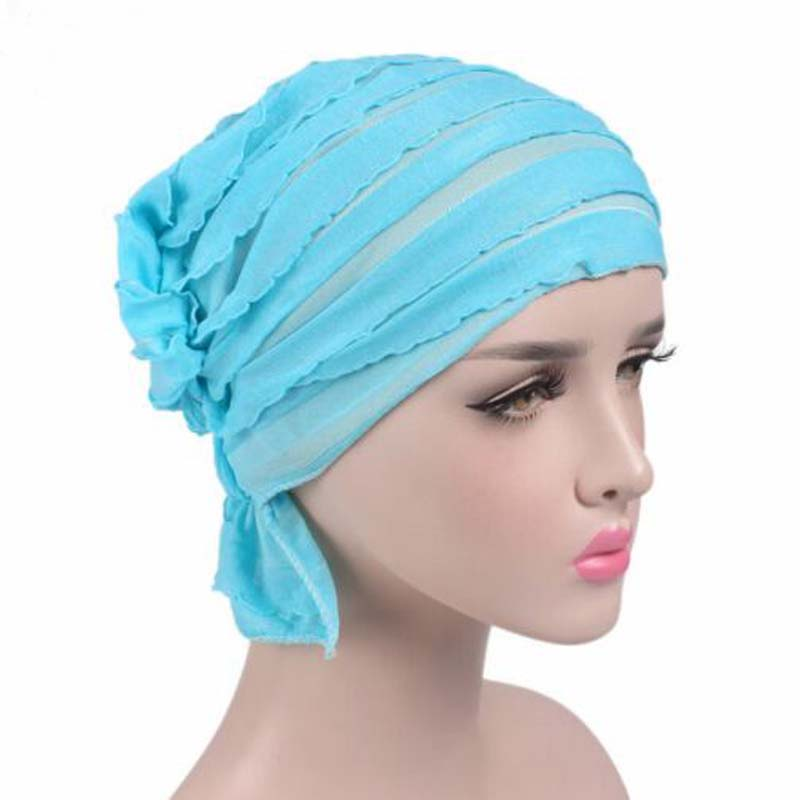 India Hot Style Ox Tripe PRE-TIE-STYLE   Skullies     Beanies   Spring Autumn Brand Cotto Turban Hats For Women Chiffon Chemotherapy Cap