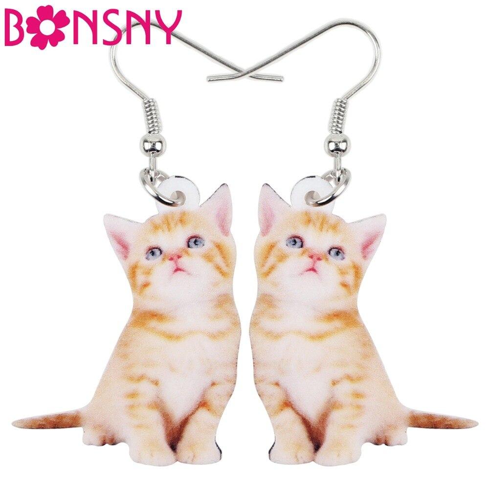 Bonsny Acrylic Cartoon Cute Cat Kitten Earrings Big Long ...