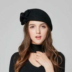 New Arrival Fedoras Hat Lady Fashion Winter Wool Tweed Hat Girls Cute Fashion Flower Beret Cap Students Woolen Party Cap B-7887