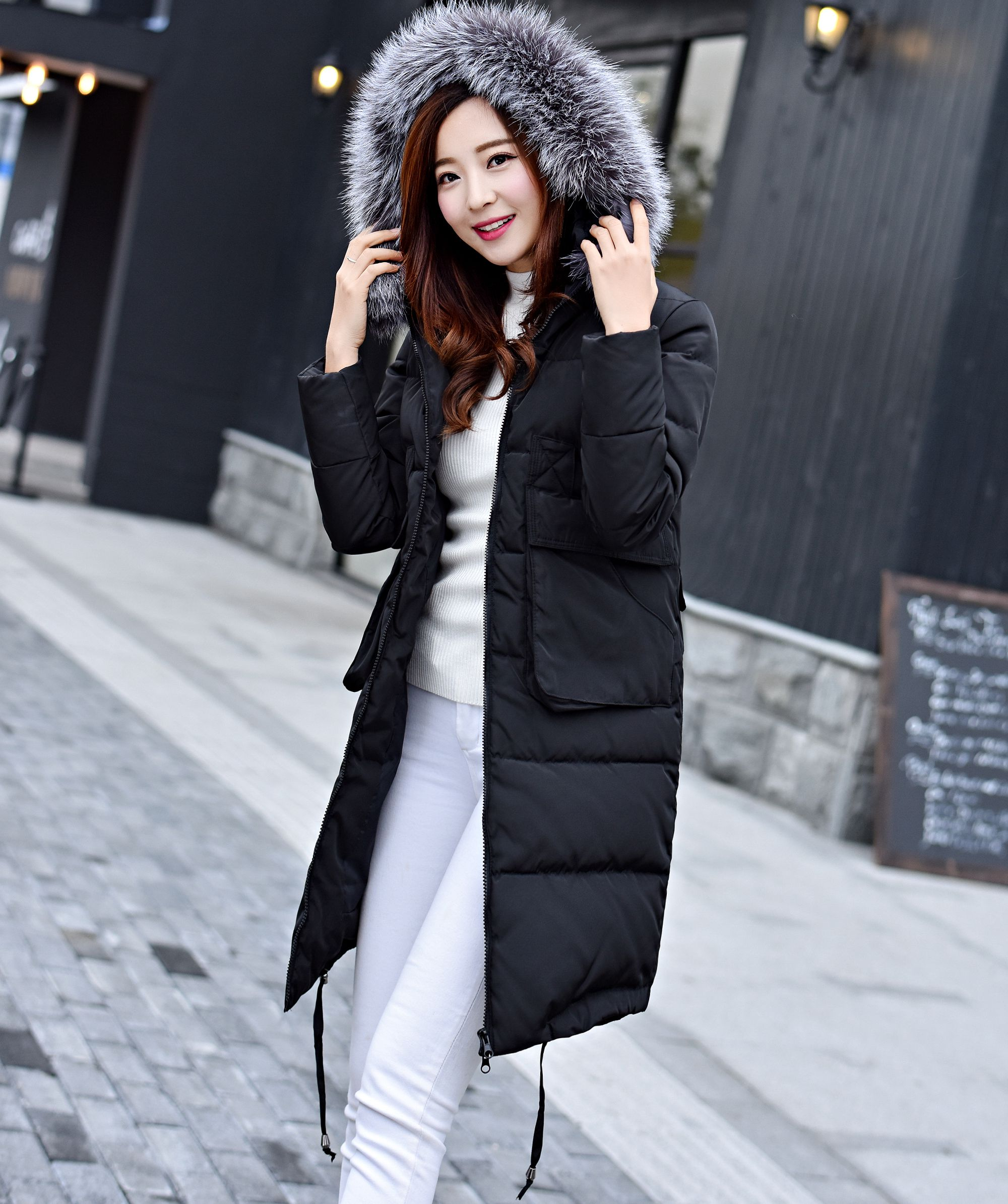 X-long slim thickened warm white duck   down     coat   outerwear women large fur collar parkas   down   jacket 2017 autumn and winter g8916