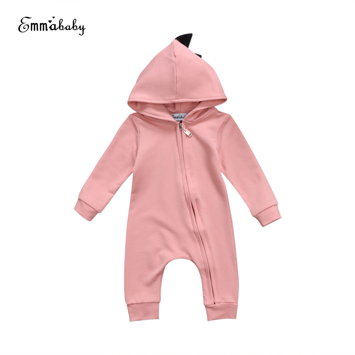 2018 new lovely kid rompers Newborn Baby Boy Girl long sleeve Dinosaur Hooded Romper Playsuit solid adorable Outfit Clothes