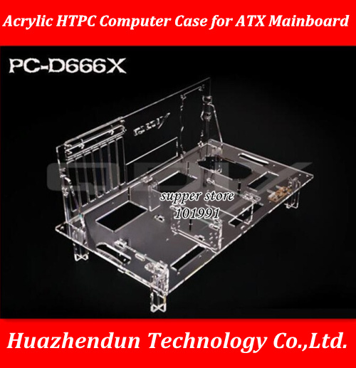 DEBROGLIE 1PCS Acrylic HTPC computer case PC-D666X OPEN TYPE chassis for ATX transparent Mainboard via Free shipping EMS DHL dhl ems 1pcs new original plc dvp16sp11t