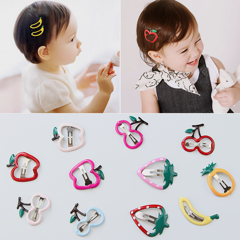 6Pcs/Lot Girls Hair Accessories Fruit Barrette Cherry Banana Hairpin Bb Drop Clips Girl Cute Headband Hair Clip Kids Hairclips