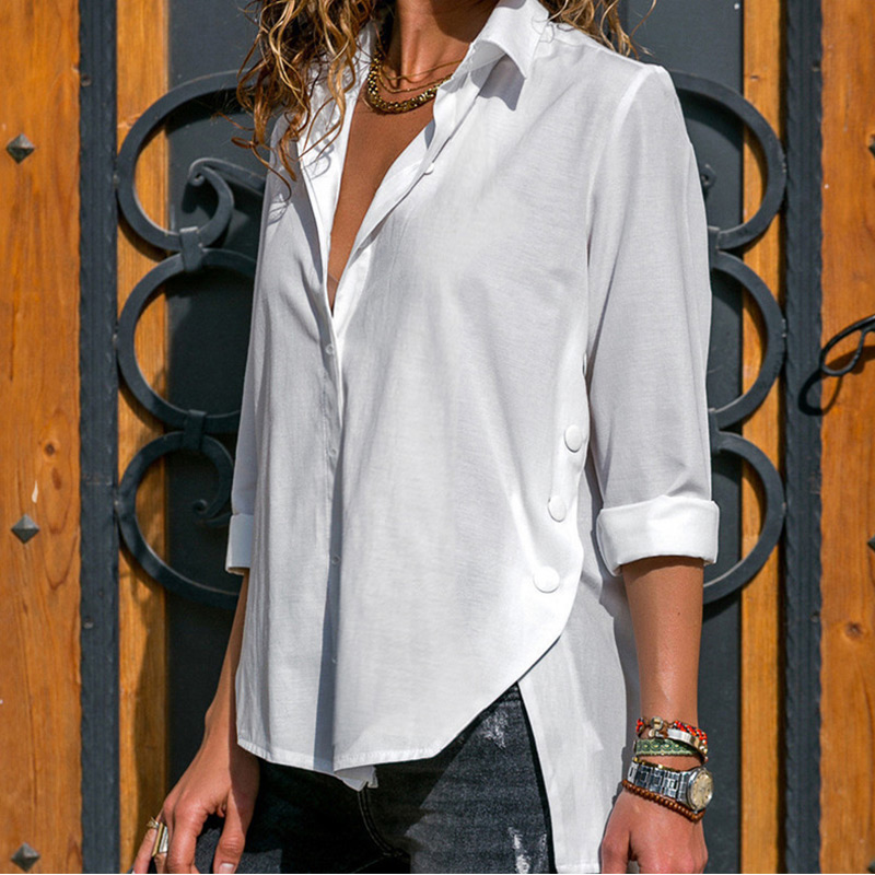 Women's Office Lady Chiffon Irregular Shirt Top Black White Red Long Sleeve Female Blouse 2020 Summer Shirts Tops Plus Size 5XL