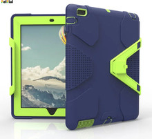 Купить с кэшбэком For iPad Air 2 Case for ipad air 2 чехол Hybrid Hard Rubber Shockproof Kickstand Case Cover for Apple iPad 6