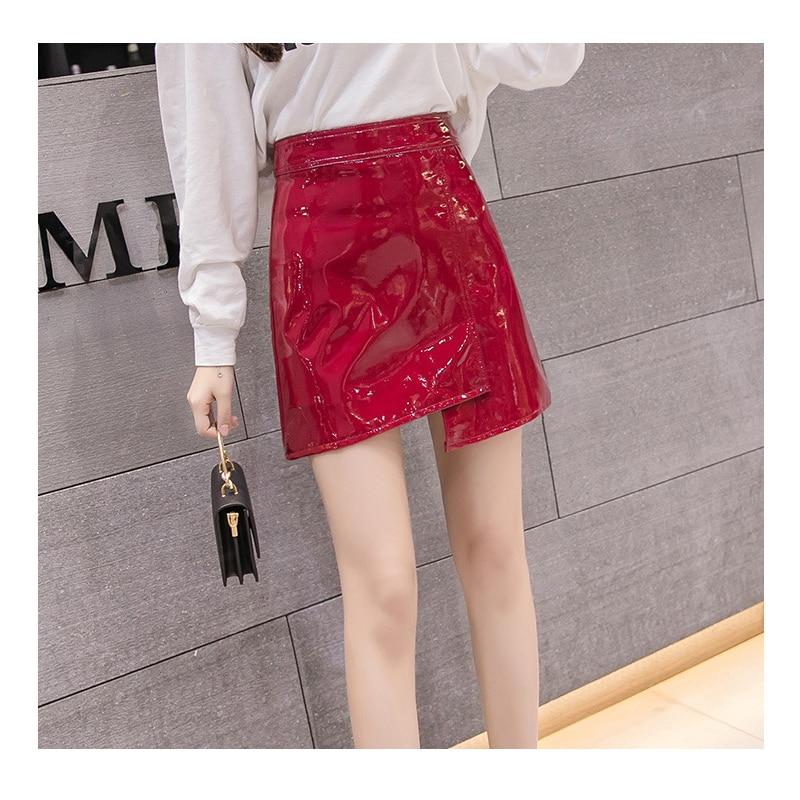 JSMY Office Women Fashion High Waist PU Leather Skirts Sexy Mini Bright Irregular Skirt