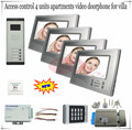 Access Control System Video Intercom System door bells For 4 Apartments/Villas+Electronic control lock full sets