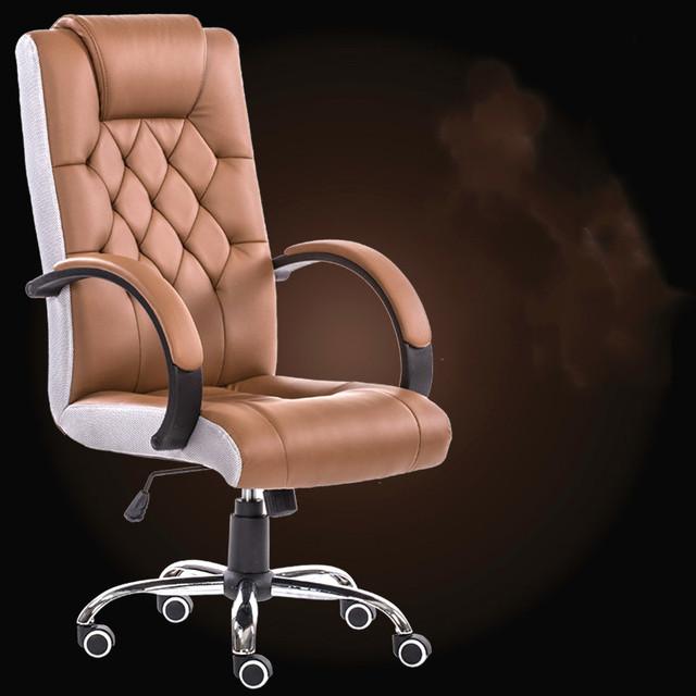 Luxo de couro costura artes pode ajustar o chefe em casa cadeira do computador cadeira giratória ergonômica.