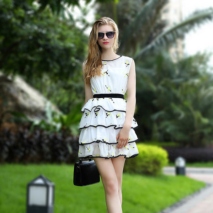 2015 New Summer Major Suit Embroidery Chiffon Blouse Two Piece Suit