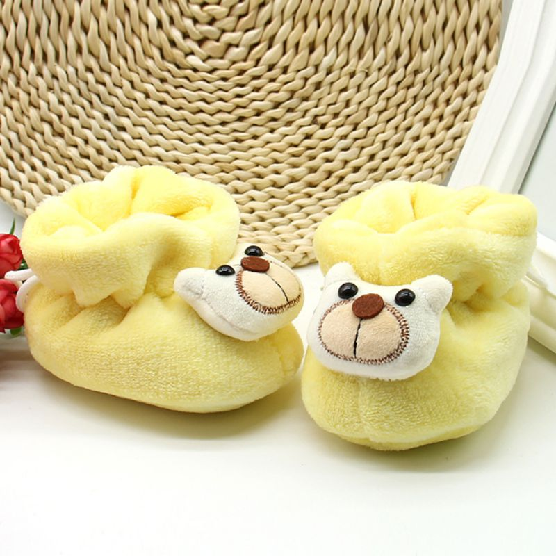 One Size 0-6M Soft Soled Girl Shoes Warm Booties Lovely Baby Little Bear Foot Winter Boots