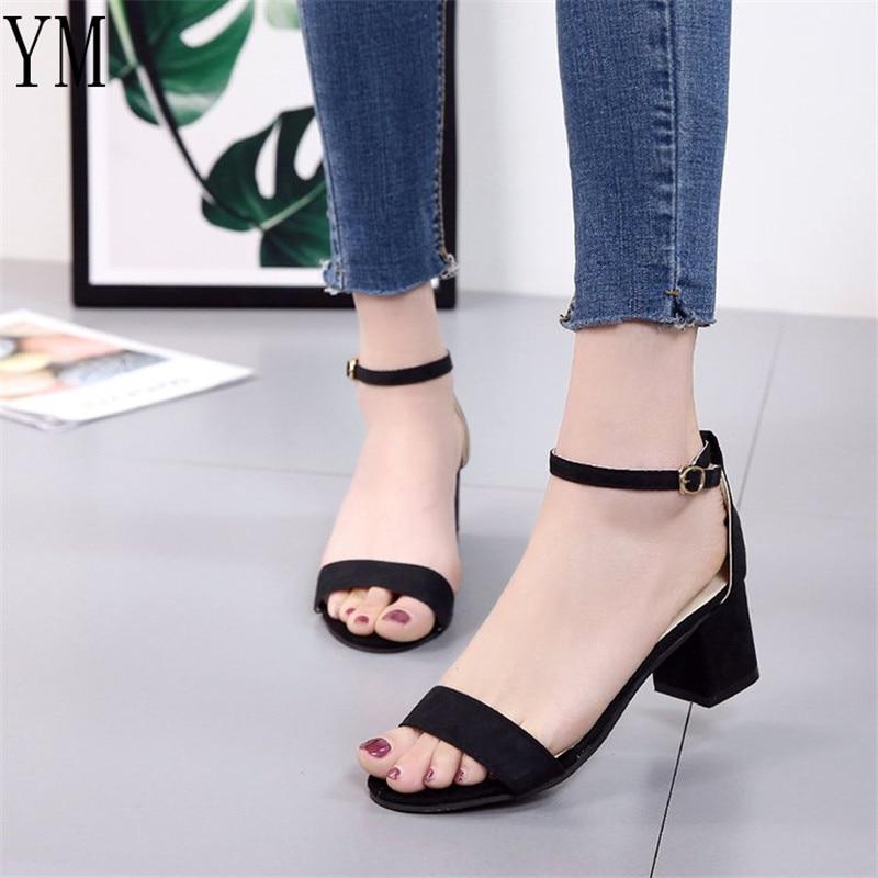 Hot Lady Sandalias Femeninas High Heels Autumn Flock Pointed Sandals High Heels Female Summer Shoes Female Sandals Mujer 34-42