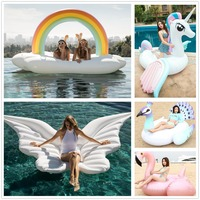 DHL/UPS 275cm Giant Inflatable water Float unicorn Ride On Swimming Ring Water Holiday Party Toys Piscina flamingo swimming laps