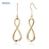 Trendy Infinity Stainless Steel Hook Dangle Earrings PVD Rose Gold Gold Silver Women Jewelry High Quality