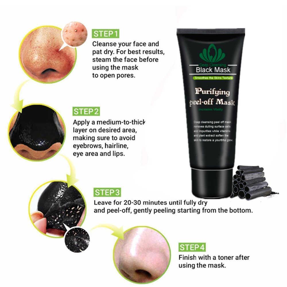 Removedor de cicatriz nariz rosto máscara preta lama acne tratamento de carvão de bambu pacote de rosto poros tira de cuidados com a pele máscara facial lift creme