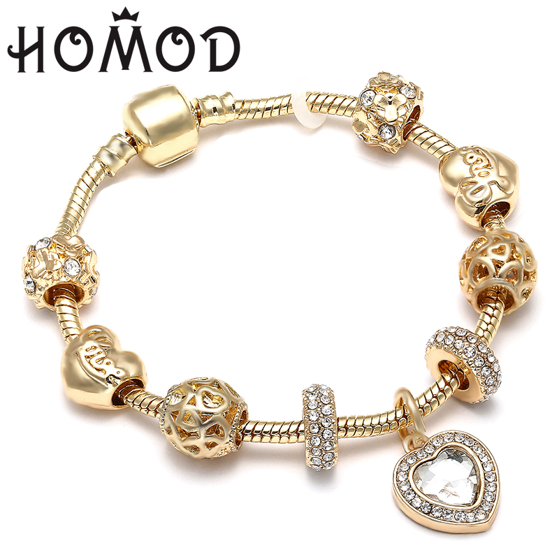 HOMOD Luxury Crystal Love Heart Charm Bracelets & Bangles Gold Color Pandora Bracelets F ...
