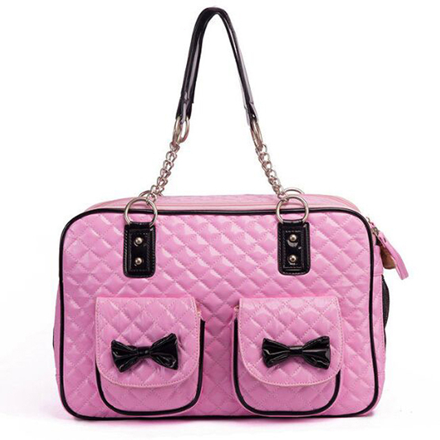 Luxury Brand Super Cute Pink Dog Carrier Bags PU Leather Quilted Dog Bag  with Chain Dog Carrier Shoulder Bag Pet Dog Handbag Med 25f02d0225
