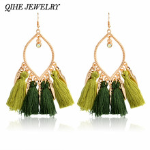 Qihe Jewelry Tel Earrings Chandelier Charm Olive Green 2 Color Fringe Silk Pendant For Women Brincos 2017