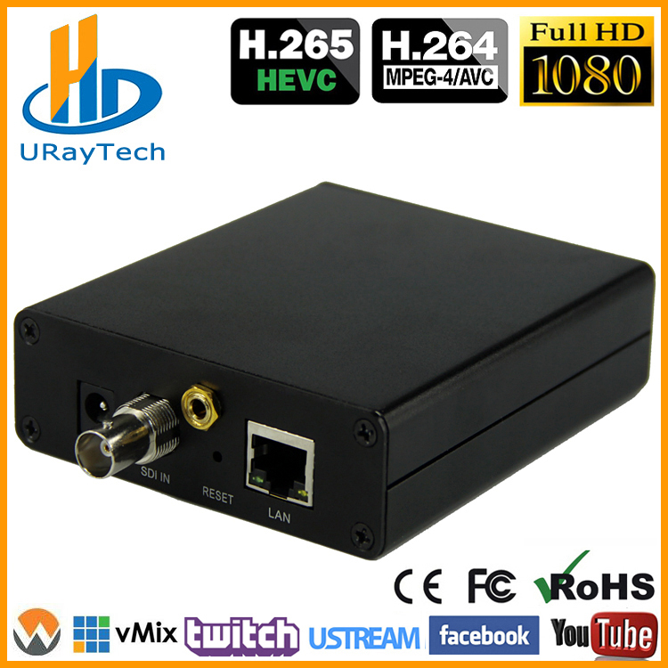 1080P 1080i Live RTMP Encoder HD 3G SDI til IP Encoder H.265 / HEVC H.264 / AVC Til IPTV, Live Broadcast, Streaming Media Server