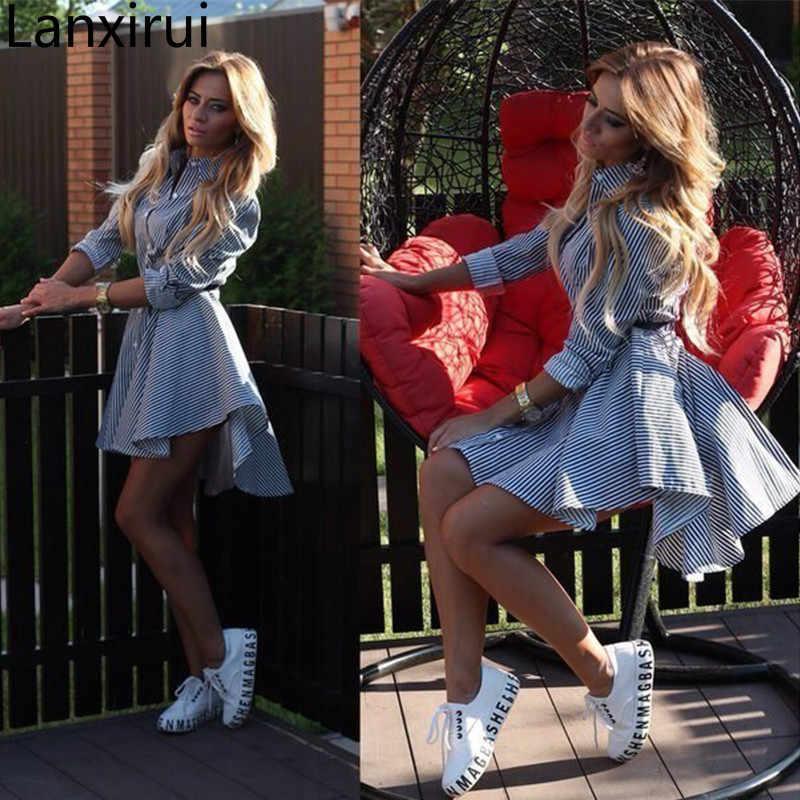 אביב סתיו נשים תורו למטה צווארון מלא שרוולי שמלה מזדמן פסים כפתור חגורת שמלות מיני Vestidos S-Xl