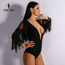 Missord 2017 Sexy Deep V Women Tassel Playsuit  Long Sleeve Black Color  Bodysuit FT8917