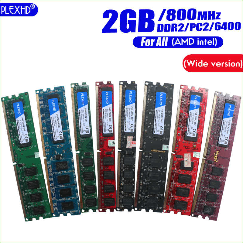 PLEXHD 2GB 2G DDR2 PC2-6400 800MHz For Desktop PC DIMM  PC2 6400 (Wide version) Memory RAM  (For intel amd) Fully compatible