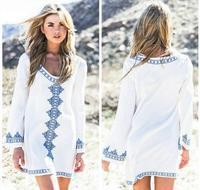 New Arrivals Beach Cover Up Embroidery Vintage Swimwear Ladies Tunics Kaftan Beach Dress Beach Wear Women