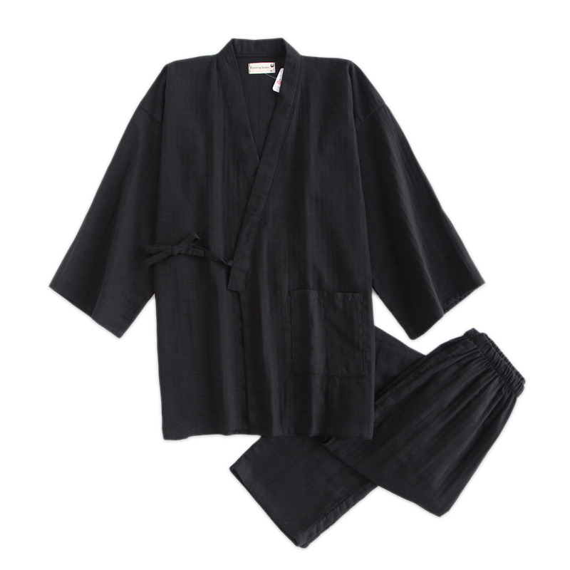 Black Kimono Robes For Male 100% Cotton Pajamas Sets Japanese Sauna Robes Mens Pyjamas Pijama Hombre SPA Homewear Bathrobes Men